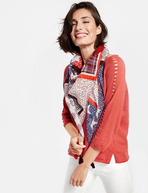 Bawełniana chusta z frędzlami Multicolor OneSize , Minimalne zamówienie 149 zł Gerry Weber 4049598195336