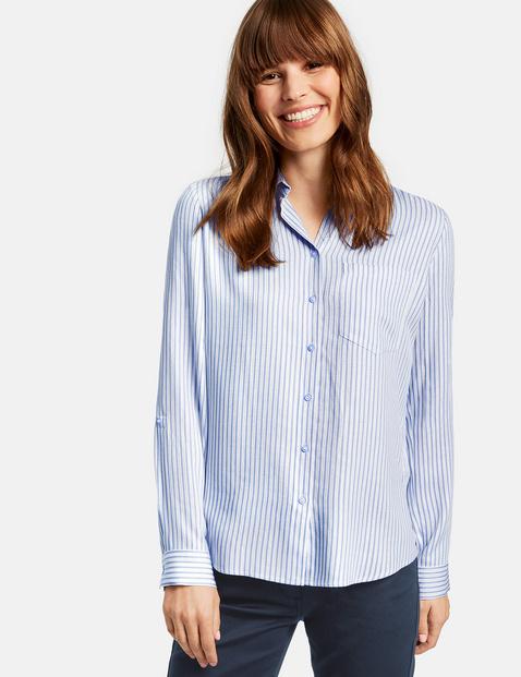 Bluzka w paski z połyskiem Niebieski 36/S Gerry Weber 4049598273614