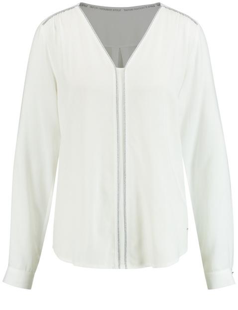 Bluzka z długimi rękawami z lejącego materiału Biały 46/L Gerry Weber 4049598282050