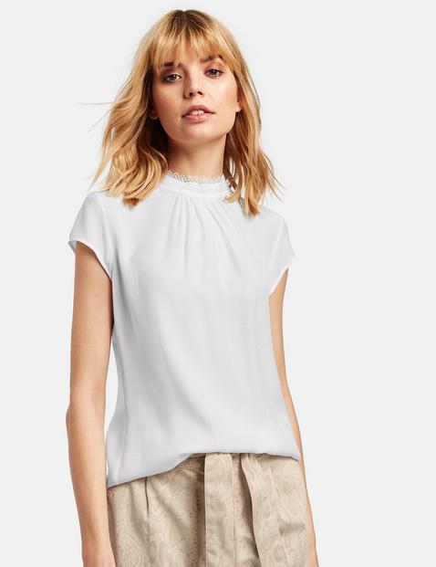 Bluzka z krótkim rękawem z koronkową stójką Biały 46/L Gerry Weber 4049598274017