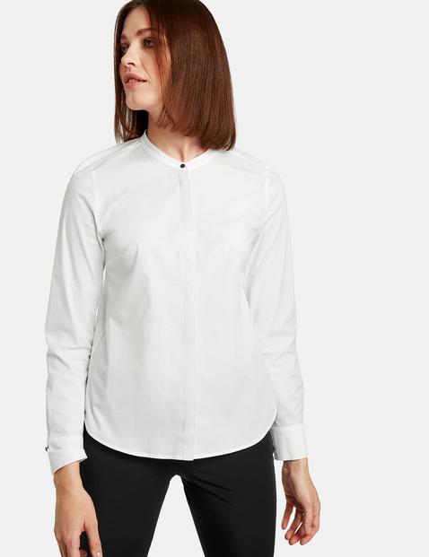 Bawełniana bluzka z błyszczącą listwą guzikową Biały 46/L Gerry Weber 4049598282890