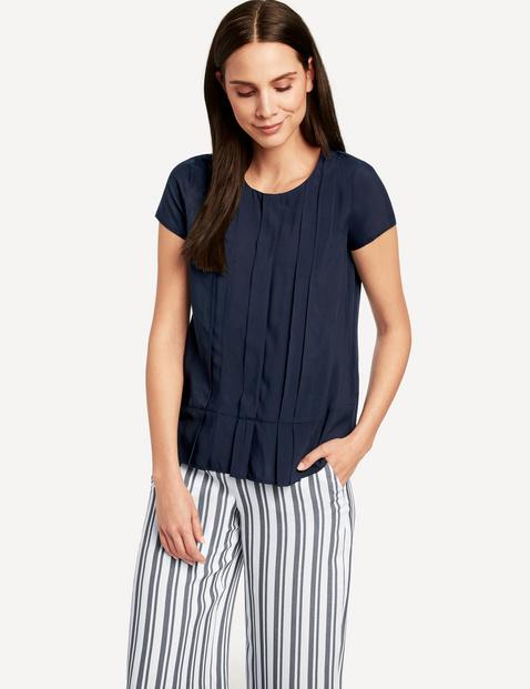 Bluzka z krótkimi rękawami i plisami Niebieski 38/S , Minimalne zamówienie 149 zł Gerry Weber 4049598310616