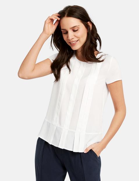Bluzka z krótkimi rękawami i plisami Biały 34/XS , Minimalne zamówienie 149 zł Gerry Weber 4049598310661
