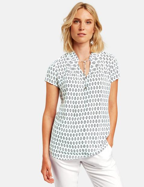 Bluzka z krótkim rękawem i wiązanymi tasiemkami Biały 44/L Gerry Weber 4049598299010