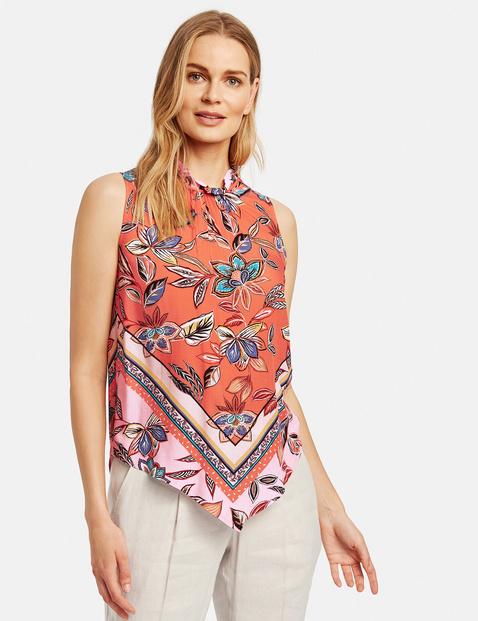Bluzka bez rękawów z nadrukiem w apaszkowy wzór Multicolor 38/S , Minimalne zamówienie 149 zł Gerry Weber 4049598310890