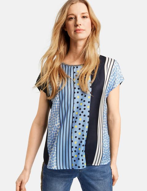Shirt mit Material-Mix Blau XS
