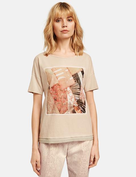 T-Shirt mit Chiffon-Applikation Beige XXS