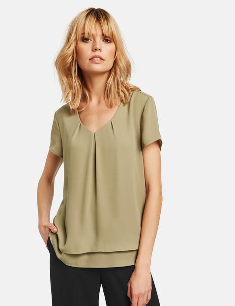 Blusenshirt mit kurzem Arm Grün XXS