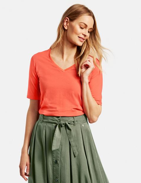 T-Shirt mit V-Aussschnitt Orange XXS