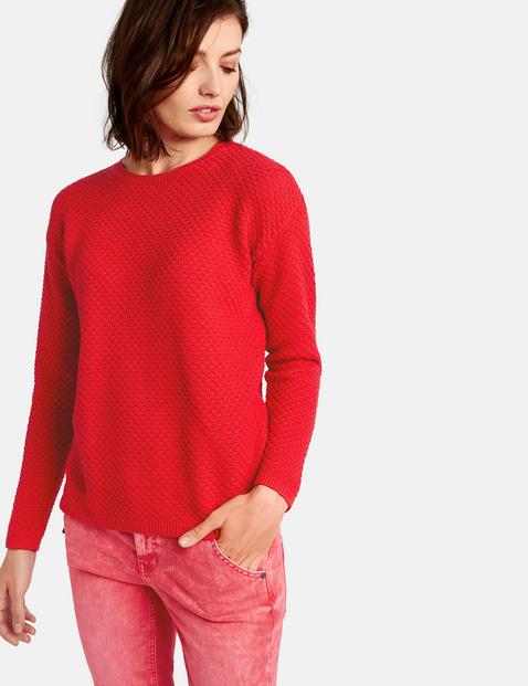 Bawełniany sweter z fakturą Czerwony XS Gerry Weber 4049598284443