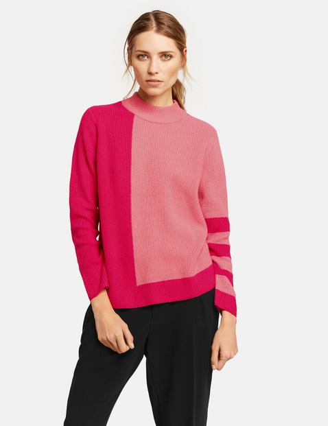 Pullover im Streifen-Design Pink XS