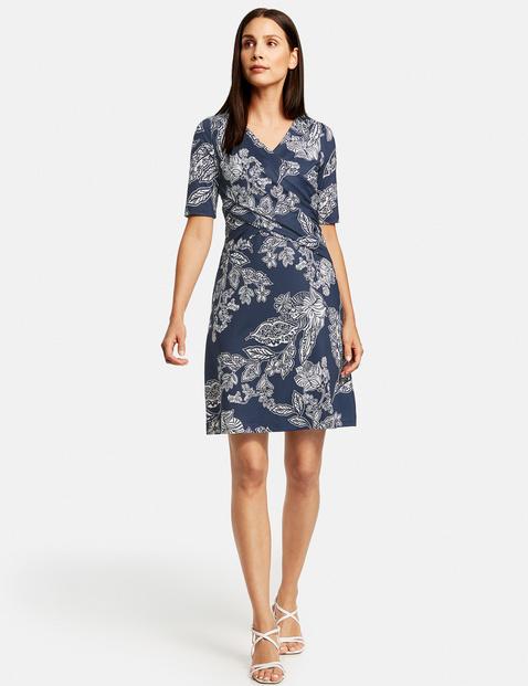 Kleid mit Wickel-Effekt Blau XXS