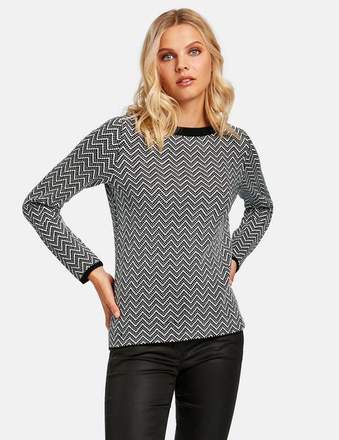 Bawełniany sweter w żakardowy wzór Czarny 48/XL Gerry Weber 4049598348220