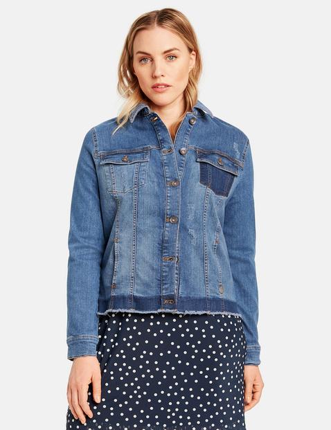 Jeansjacke mit Kontrast-Details Blau 46/L