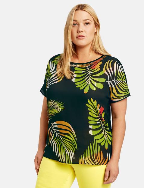 Bluzka z nadrukiem w liście palm Multicolor 40/42 , Minimalne zamówienie 149 zł Gerry Weber 4049602343333