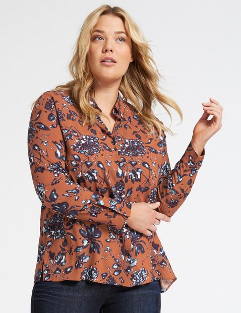 Bluzka koszulowa z kwiatowym nadrukiem Brązowy 50/XL Gerry Weber 4049602351376