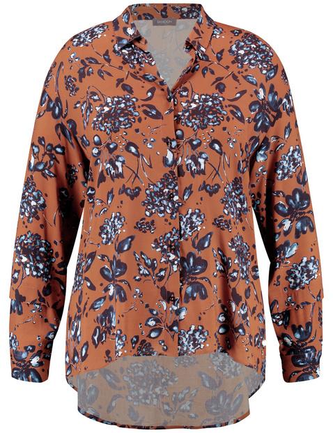 Bluzka koszulowa z kwiatowym nadrukiem Brązowy 54/XXL Gerry Weber 4049602351390