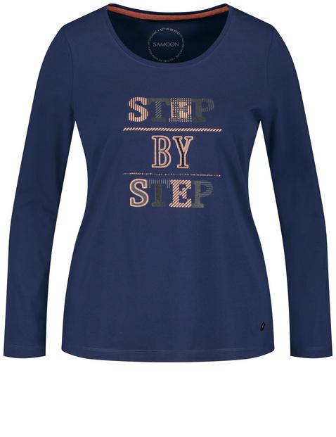 Bluzka z nadrukiem liter z bawełny ekologicznej z certyfikatem GOTS Niebieski 54/XXL Gerry Weber 4049602352014