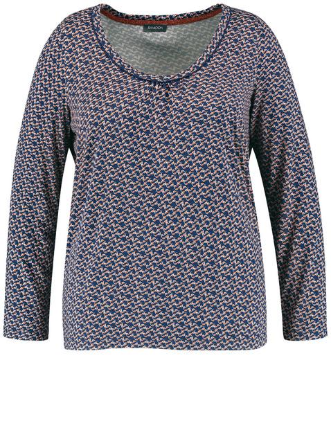 Bluzka z długim rękawem i nadrukiem na całej powierzchni EcoVero Niebieski 52/XXL Gerry Weber 4049602353899