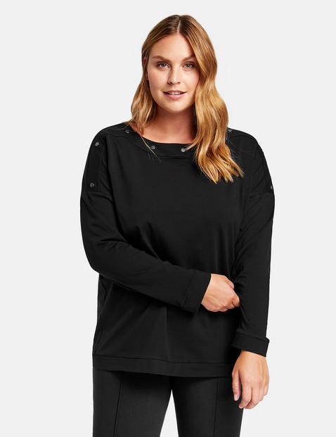 Bluza z ozdobnymi nitami z bawełny ekologicznej Czarny 54/XXL Gerry Weber 4049602350362