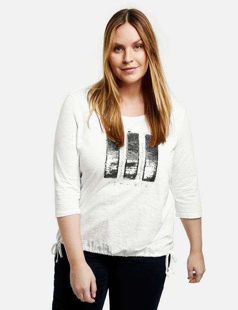 samoon - Shirt mit Pailletten aus GOTS zertifizierter Bio-Baumwolle Weiss 48/XL