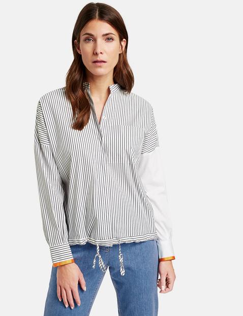 Bluzka koszulowa z naszywką w paski Multicolor 42/M Gerry Weber 4058425763099