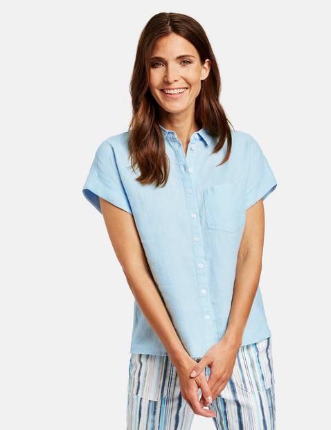 Bluzka koszulowa z lnu, z rękawem o dł. 1/2 Niebieski 46/L Gerry Weber 4058425850997