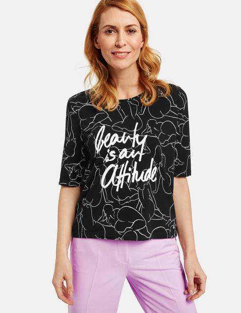Shirt mit kunstvollem Muster organic cotton Schwarz 40/M