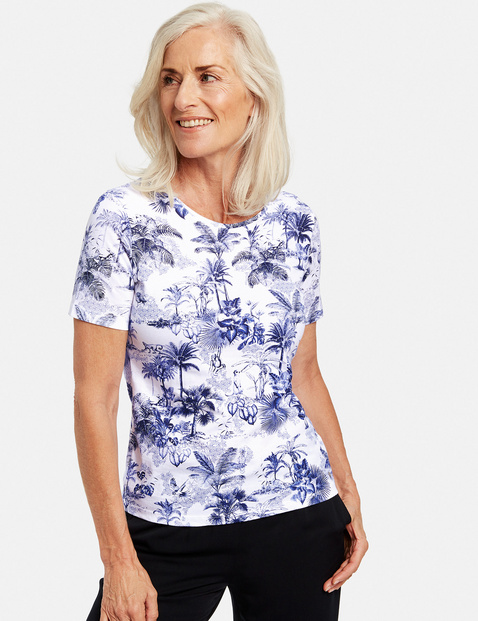 1/2 Arm Shirt mit Palmenprint Blau 36/S
