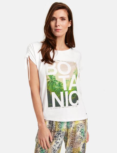 1/2 Arm Shirt mit Floralprint Weiss 44/L