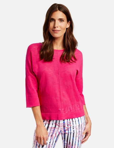 3/4 Arm Pullover mit Teilungsnähten Pink 44/L