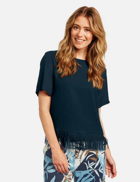 Blusenshirt mit Fransensaum Blau 38/S