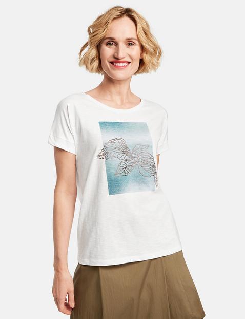 Shirt mit Frontprint Weiss 46/L