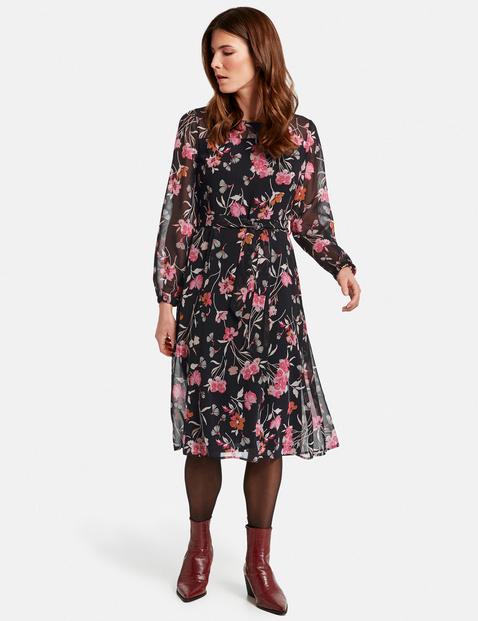 Kleid mit Flowerdessin Schwarz 36/S