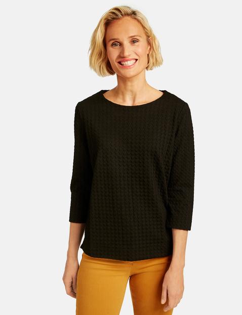 Bluza w żakardowym stylu Czarny 48/XL Gerry Weber 4058425970350