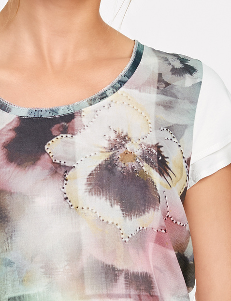 Shirt mit Material-Mix