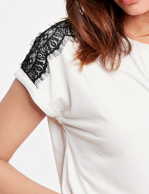 Shirt mit Kontrast-Spitze