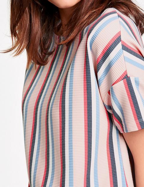 Struktur-Shirt mit Streifen-Dessin