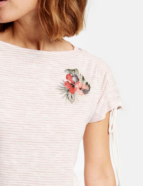 Baumwoll-Shirt mit Schulter-Raffung