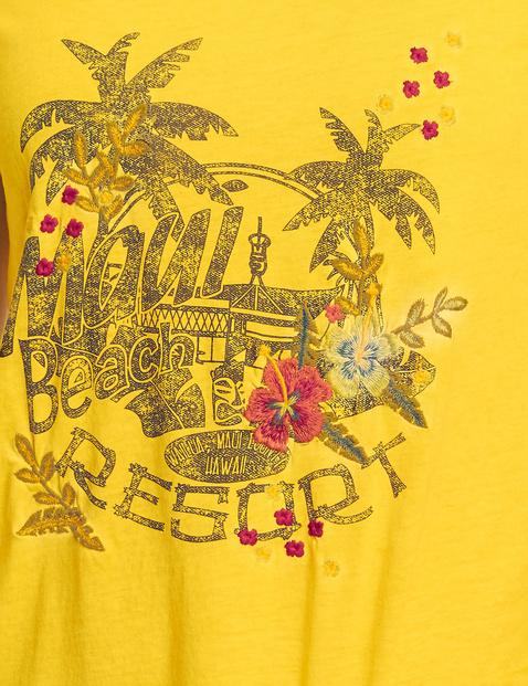 T-shirt met print en borduursel