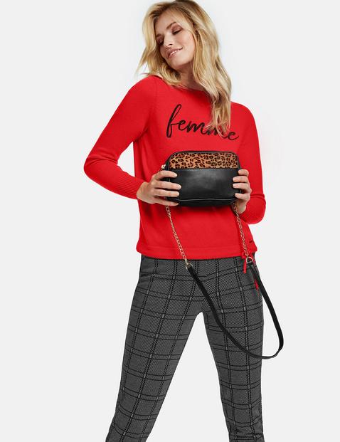 Shoulder bag with leopard print detail