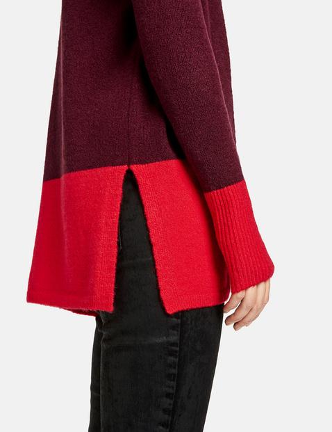 Cardigan with colour blocking