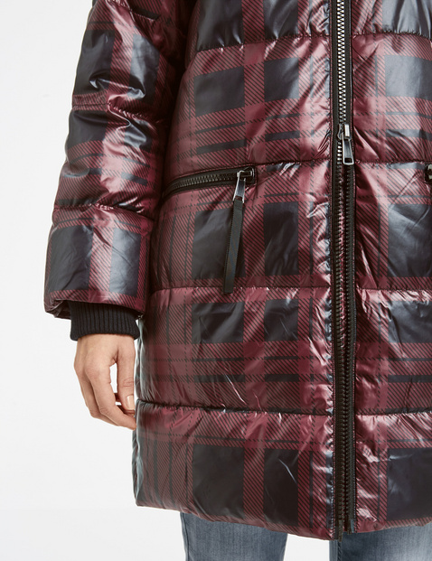 Checked quilted coat in oversize
