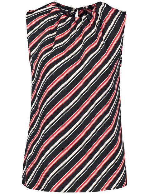 Ärmellose Bluse mit Diagonal-Streifen