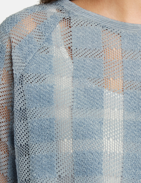 Netz-Shirt mit Karo-Struktur