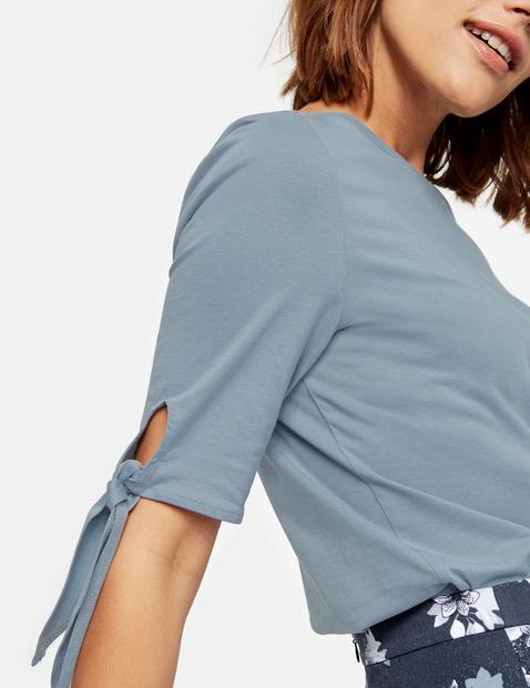 Shirt met halflange mouwen en bindbandjes