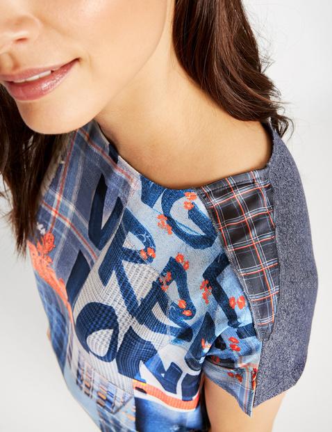 Shirt met een materiaalmix