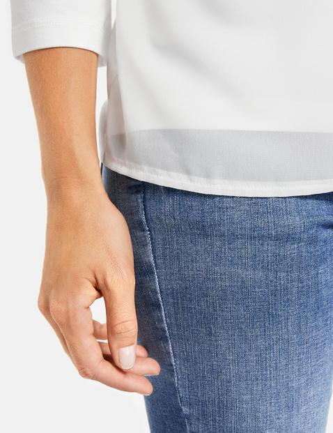 Shirt met 3/4-mouwen en chiffon