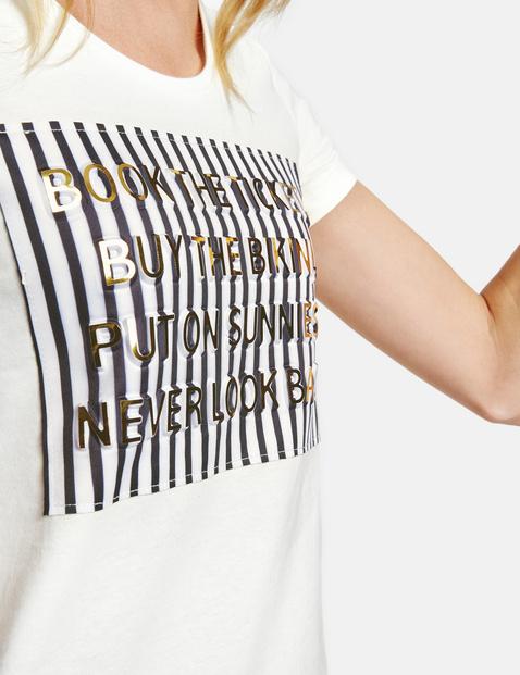 T-shirt met ingewerkt metallic motief