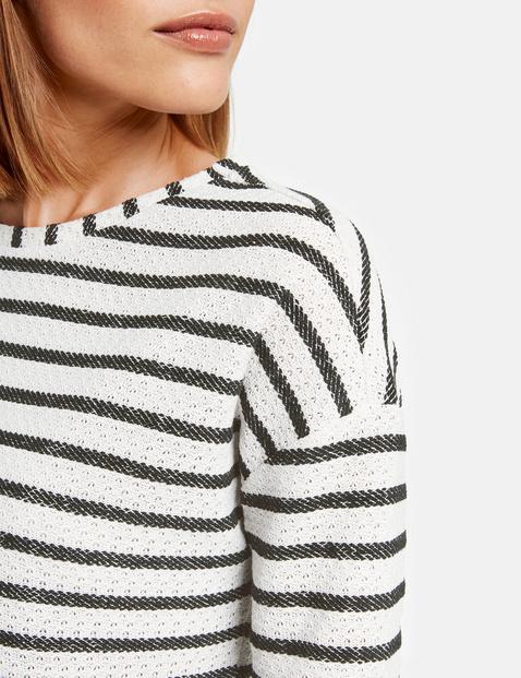 3/4 Arm Shirt aus Struktur-Jersey
